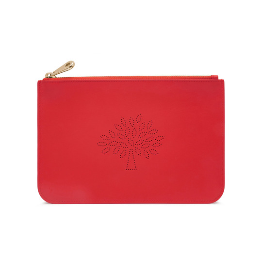 2015 S/S Mulberry Small Blossom Zip Pouch in Hibiscus Calf Nappa Leather