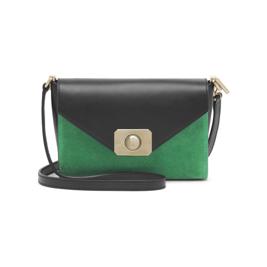 2015 Latest Mulberry Small Delphie Bag Jungle Green & Midnight Blue Heavy Suede With Black Flat Calf Leather
