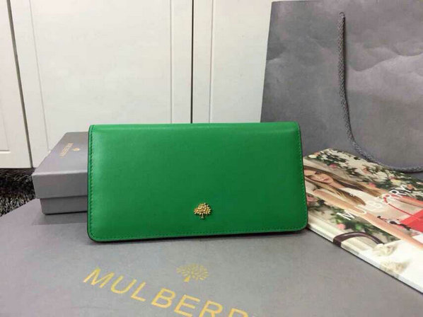 2015 Womens Mulberry Tree Slim Long Wallet in Jungle Green & Sea Blue Lamb Nappa