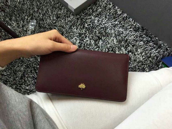 2015 Womens Mulberry Tree Slim Long Wallet in Oxblood & Black Lamb Nappa