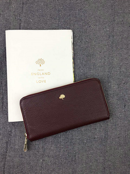 2015 New color Mulberry Tree Zip Around Wallet Oxblood Grainy Leather