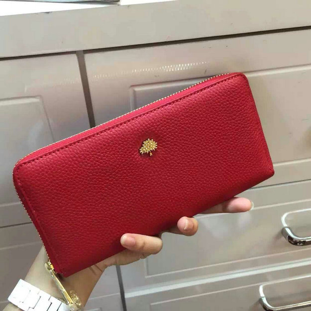 2014 Mulberry Tree Zip Around Wallet Red Grainy Leather