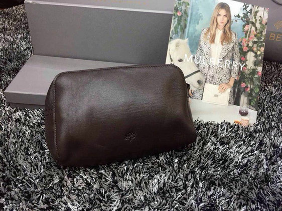2015 Unisex Mulberry Leather Clutch 8437 in Chocolate