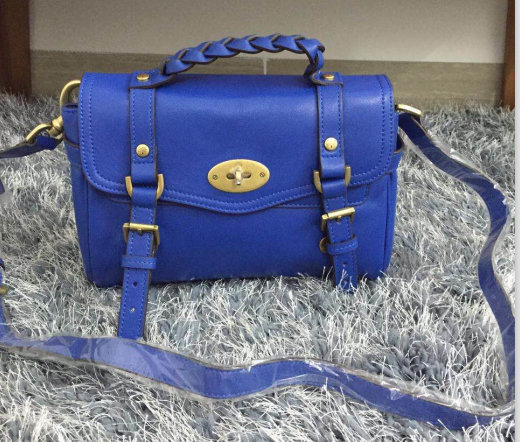 2015 Mulberry Small Alexa Satchel Bag Blue Leather