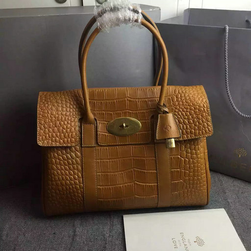 2015 Hottest Mulberry Bayswater Tote Bag Oak Croc Leather