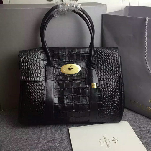 2015 Hottest Mulberry Bayswater Tote Bag Black Croc Leather