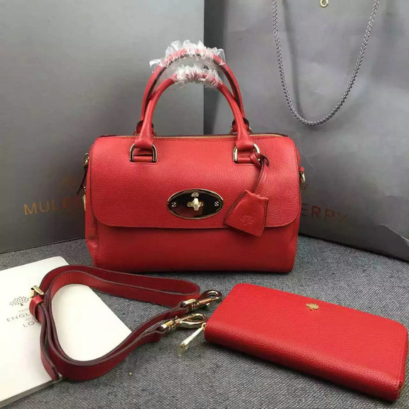 2015 New Mulberry Del Rey Bag in Red Leather