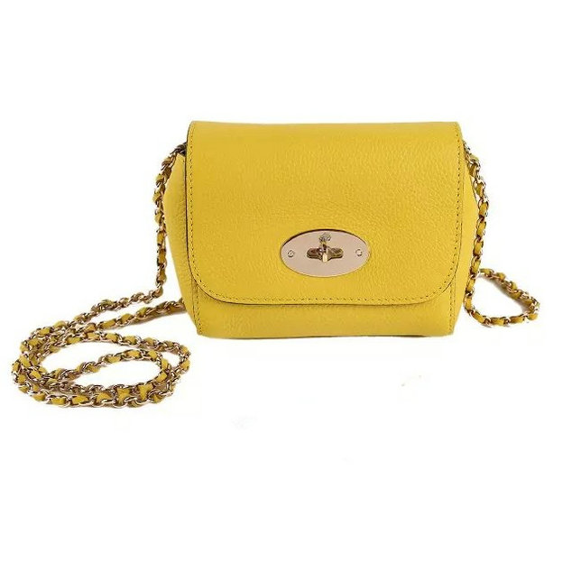 2015 Mulberry Mini Lily Shoulder Bag Yellow Small Classic Grain