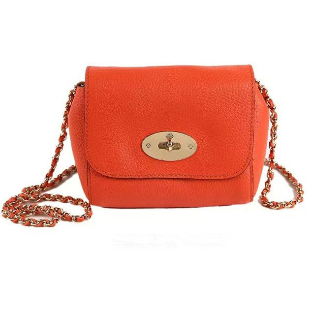 2015 Mulberry Mini Lily Shoulder Bag Mandarin Small Classic Grain
