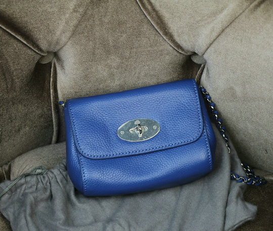 2015 New Mulberry Mini Lily Shoulder Bag Blue Small Classic Grain Leather