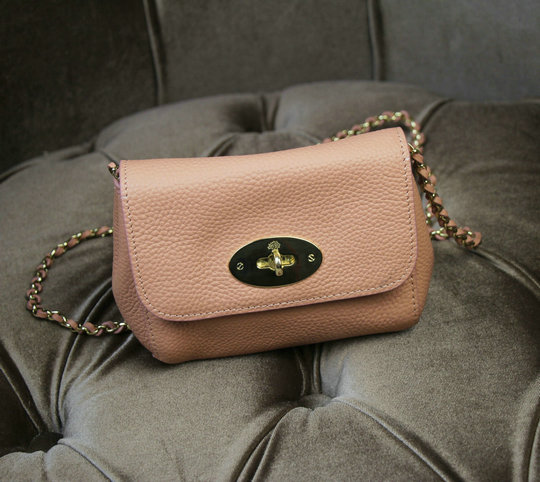 2015 New Mulberry Mini Lily Shoulder Bag Pink Small Classic Grain Leather