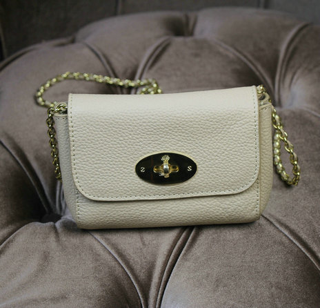 2015 New Mulberry Mini Lily Shoulder Bag Off-White Small Classic Grain Leather