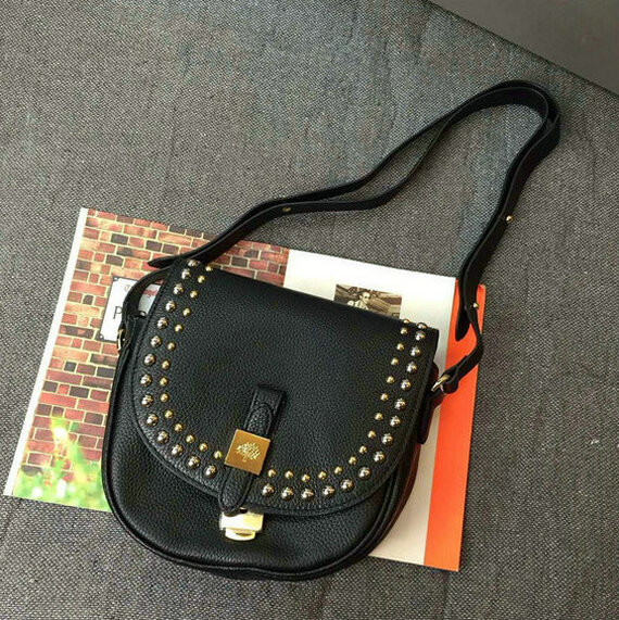 2015 Mulberry Small Tessie Satchel Black with rivets details