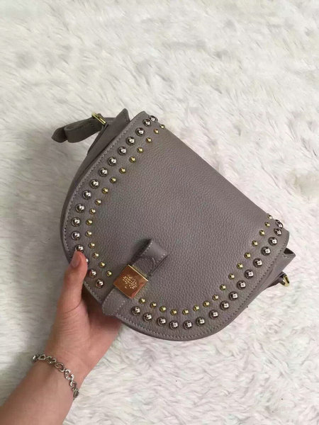 2015 Mulberry Small Tessie Satchel Grey with rivets details
