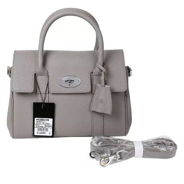 2015 Iconic Mulberry Small Bayswater Satchel in Grey Small Classic Grain Leather
