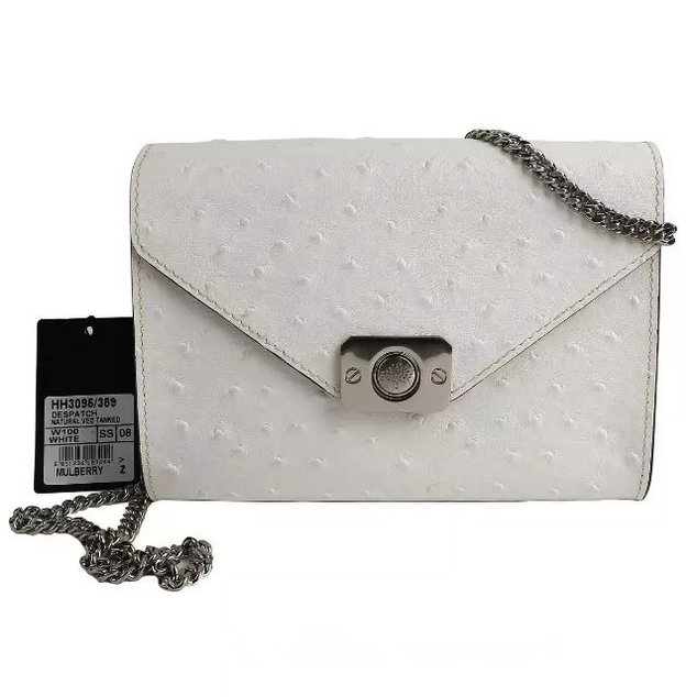 2015 Latest Mulberry Small Delphie Bag White Ostrich Leather