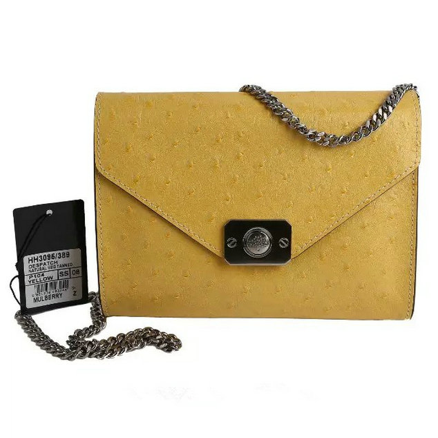 2015 Latest Mulberry Small Delphie Bag Yellow Ostrich Leather
