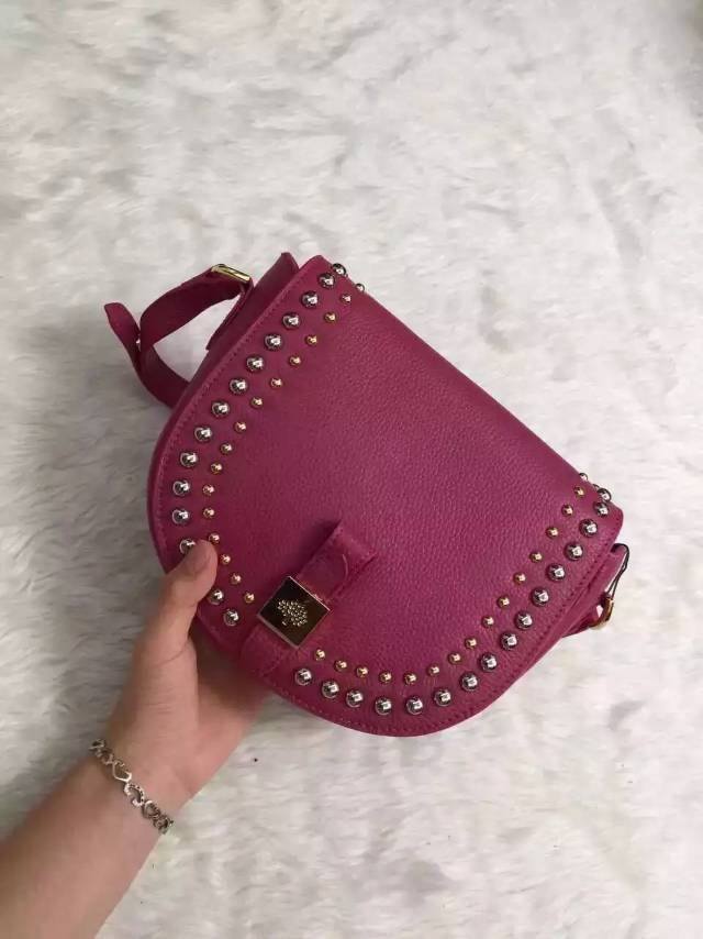 2015 Mulberry Small Tessie Satchel Fuchsia with rivets details
