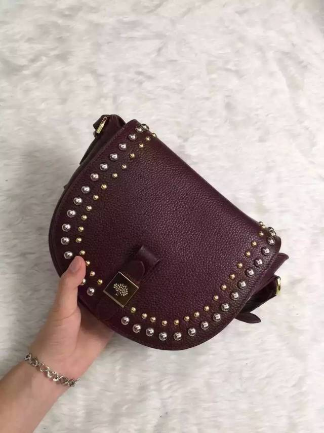 2015 Mulberry Small Tessie Satchel Oxblood with rivets details