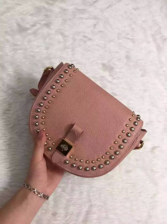 2015 Mulberry Small Tessie Satchel Pink with rivets details