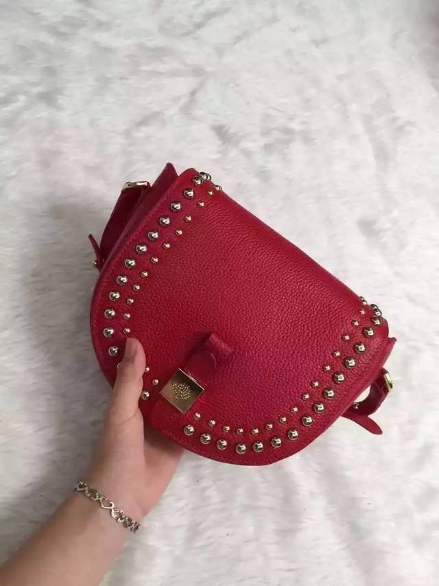 2015 Mulberry Small Tessie Satchel Red with rivets details