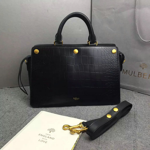 2016 Fall/Winter Mulberry Chester Tote Bag Black Polished Croc Leather