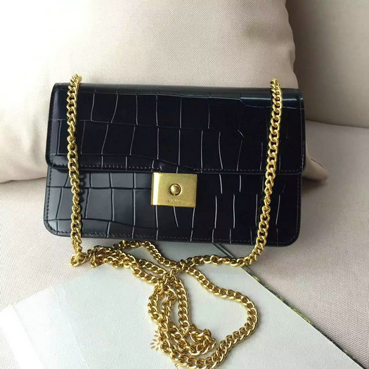 2016 Latest Mulberry Cheyne Clutch Black Polished Embossed Croc Leather