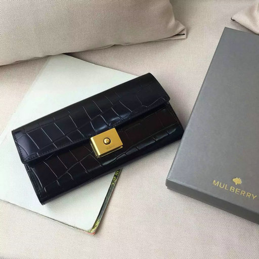 2016 Latest Mulberry Cheyne Wallet Black Polished Embossed Croc