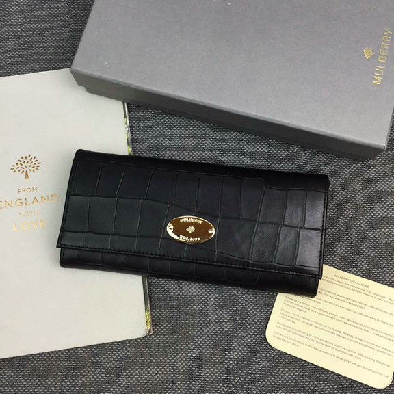 2016 Latest Mulberry Continental Wallet Black Deep Embossed Croc Print