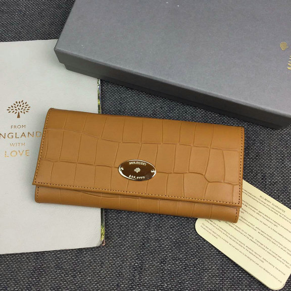 2016 Latest Mulberry Continental Wallet Camel Deep Embossed Croc Print