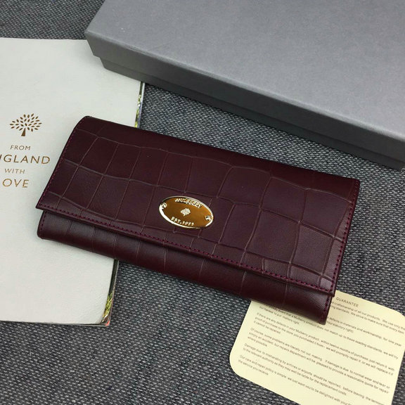 2016 Latest Mulberry Continental Wallet Oxblood Deep Embossed Croc Print