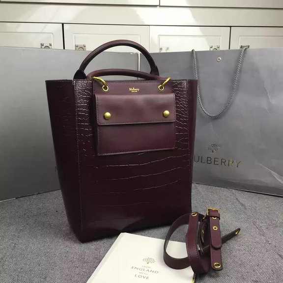 2016 Fall/Winter Mulberry Maple Tote Bag Burgundy Polished Embossed Croc
