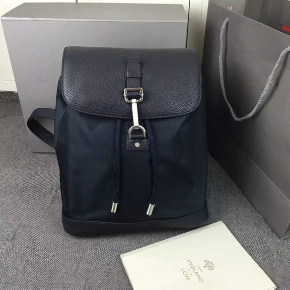 2016 Men's Mulberry Small Marty Backpack in Midnight Blue Calfskin and Nylon