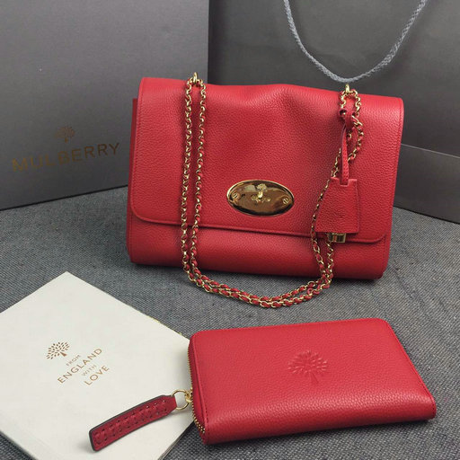 2016 Mulberry Medium Lily Shoulder Bag Fiery Spritz Small Classic Grain