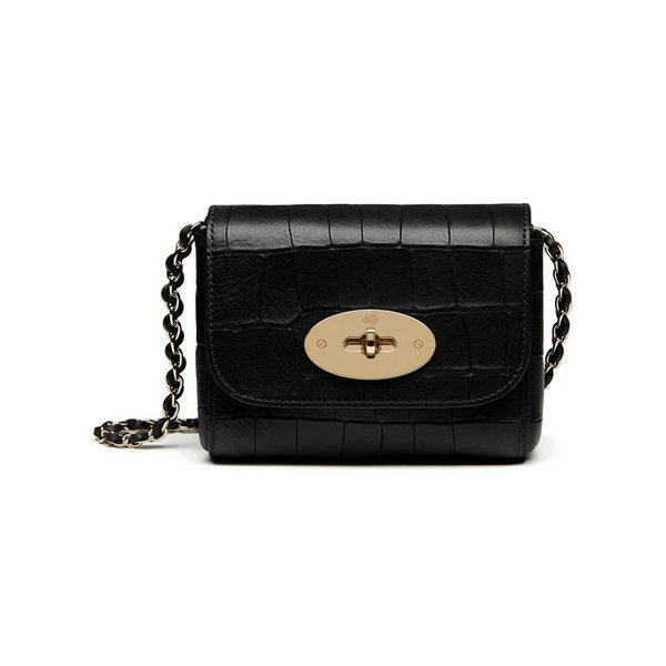 2016 Latest Mulberry Mini Lily Bag in Black Croc Leather