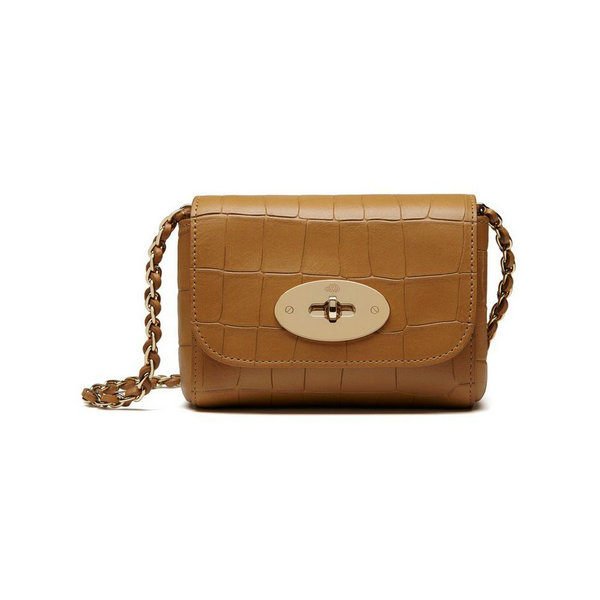 2016 Latest Mulberry Mini Lily Bag in Camel Croc Leather