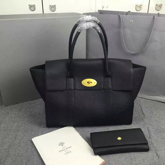2016 Latest Mulberry New Bayswater Bag in Black Natural Grain Leather