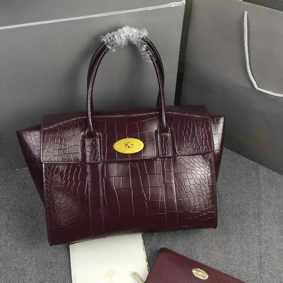 2016 Latest Mulberry New Bayswater Bag in Oxblood Polished Embossed Croc Leather