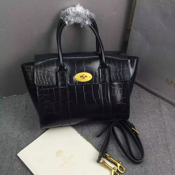 ea32e4bf79 ... cheap 2016 latest mulberry small new bayswater bag in black polished  embossed croc leather c7b55 81e3f