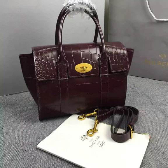 2016 Latest Mulberry Small New Bayswater Bag in Oxblood Polished Embossed  Croc Leather 8e746d6a7d682