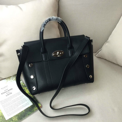 6c37caa637 2016 Latest Mulberry Small New Bayswater Black Smooth Calf with Studs