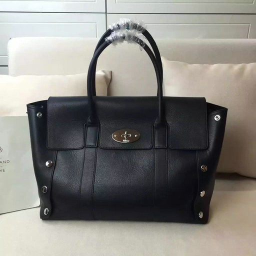 2016 Latest Mulberry New Bayswater Tote Black Smooth Calf with Studs