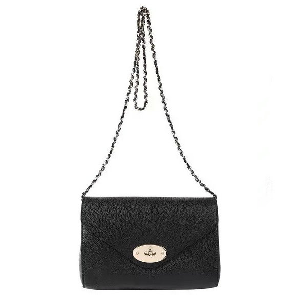 2016 Spring Summer Mulberry Envelope Crossbody/Shoulder Bag in Black Small Grain Leather