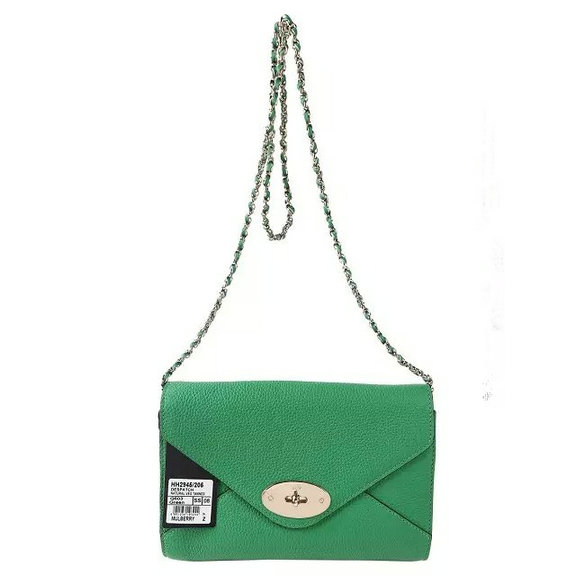 2016 Spring Summer Mulberry Envelope Crossbody/Shoulder Bag in Green Small Grain Leather