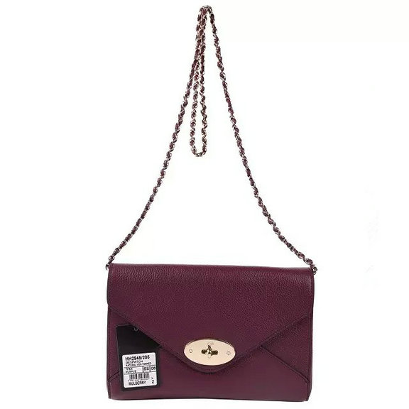 2016 Spring Summer Mulberry Envelope Crossbody/Shoulder Bag in Purple Small Grain Leather