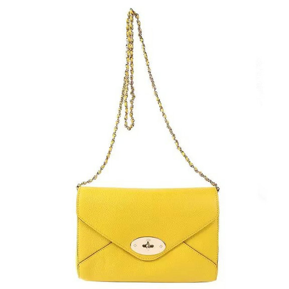 2016 Spring Summer Mulberry Envelope Crossbody/Shoulder Bag in Yellow Small Grain Leather