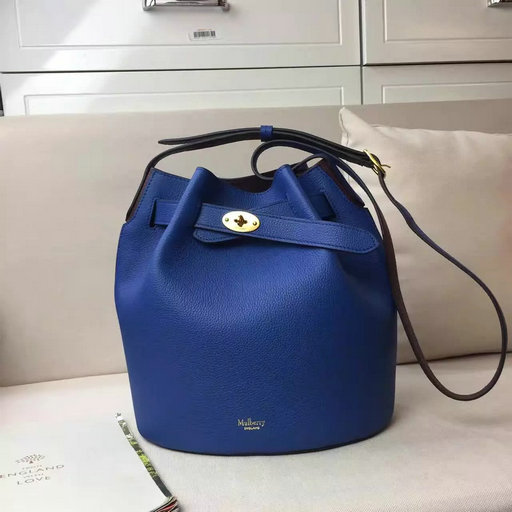 2017 Spring/Summer Mulberry Abbey Bucket Bag in Porcelain Blue & Oxblood Grain Leather