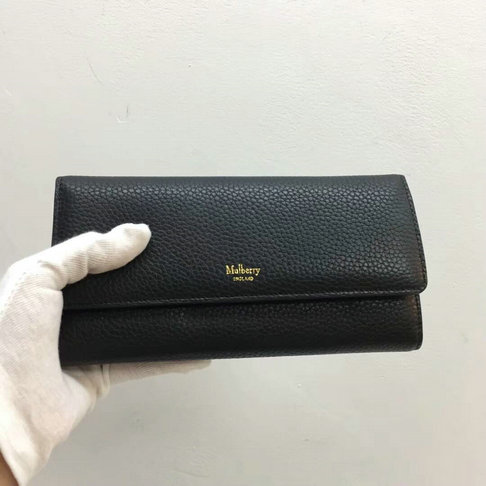2017 Mulberry Continental Wallet in Black Small Classic Grain