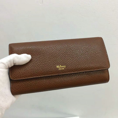 2017 Mulberry Continental Wallet in Oak Small Classic Grain