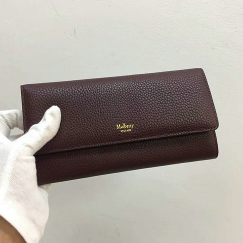 2017 Mulberry Continental Wallet in Oxblood Small Classic Grain